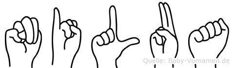 Nilua im Fingeralphabet der Deutschen Gebärdensprache