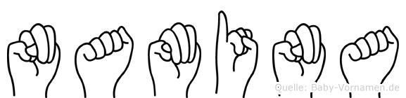 Namina in Fingersprache für Gehörlose