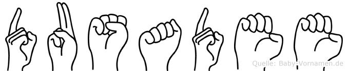 Dusadee im Fingeralphabet der Deutschen Gebärdensprache