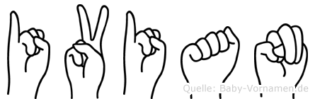 Ivian im Fingeralphabet der Deutschen Gebärdensprache