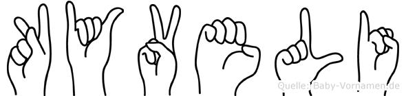 Kyveli im Fingeralphabet der Deutschen Gebärdensprache