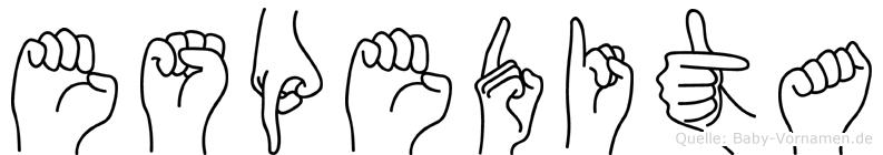 Espedita im Fingeralphabet der Deutschen Gebärdensprache