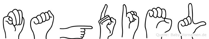 Magdiel im Fingeralphabet der Deutschen Gebärdensprache
