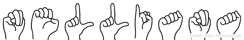 Nelliana im Fingeralphabet der Deutschen Gebärdensprache