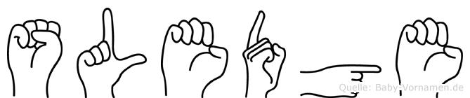 Sledge im Fingeralphabet der Deutschen Gebärdensprache