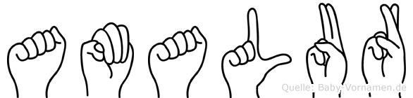 Amalur im Fingeralphabet der Deutschen Gebärdensprache