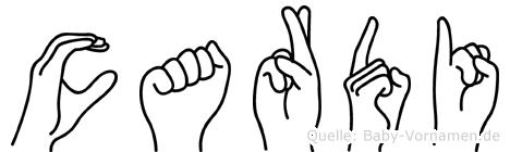 Cardi im Fingeralphabet der Deutschen Gebärdensprache