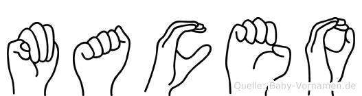 Maceo im Fingeralphabet der Deutschen Gebärdensprache