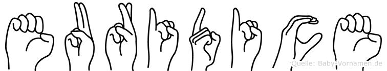 Euridice in Fingersprache für Gehörlose
