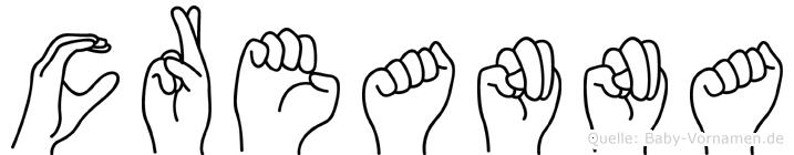 Creanna im Fingeralphabet der Deutschen Gebärdensprache