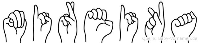Mireika im Fingeralphabet der Deutschen Gebärdensprache