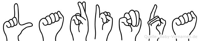 Larinda im Fingeralphabet der Deutschen Gebärdensprache