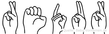 Redur im Fingeralphabet der Deutschen Gebärdensprache