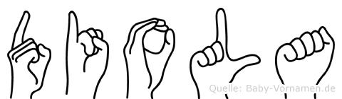 Diola im Fingeralphabet der Deutschen Gebärdensprache