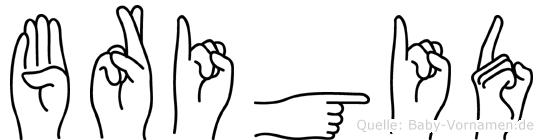 Brigid im Fingeralphabet der Deutschen Gebärdensprache