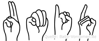 Umid in Fingersprache für Gehörlose