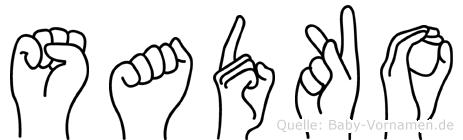 Sadko im Fingeralphabet der Deutschen Gebärdensprache