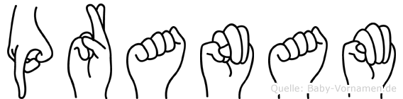Pranam im Fingeralphabet der Deutschen Gebärdensprache