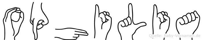 Ophilia in Fingersprache für Gehörlose
