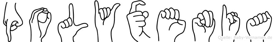 Polyxenia in Fingersprache für Gehörlose
