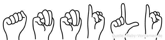 Annili im Fingeralphabet der Deutschen Gebärdensprache