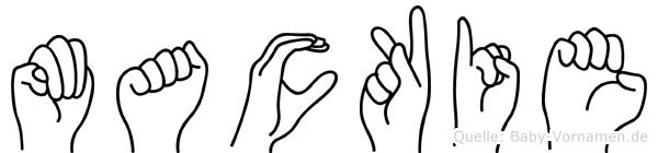 Mackie im Fingeralphabet der Deutschen Gebärdensprache