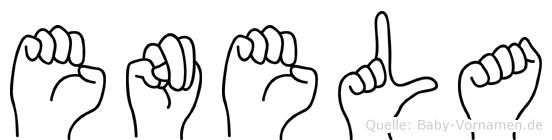 Enela im Fingeralphabet der Deutschen Gebärdensprache