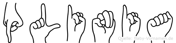 Plinia im Fingeralphabet der Deutschen Gebärdensprache