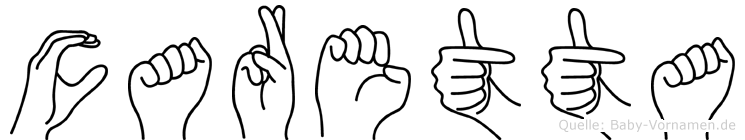 Caretta im Fingeralphabet der Deutschen Gebärdensprache