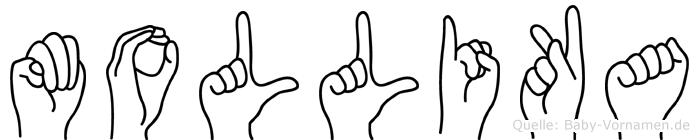 Mollika im Fingeralphabet der Deutschen Gebärdensprache