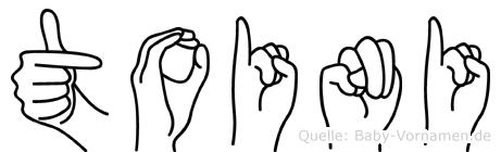 Toini im Fingeralphabet der Deutschen Gebärdensprache