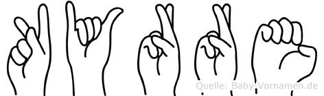 Kyrre im Fingeralphabet der Deutschen Gebärdensprache