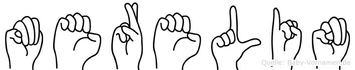 Merelin im Fingeralphabet der Deutschen Gebärdensprache