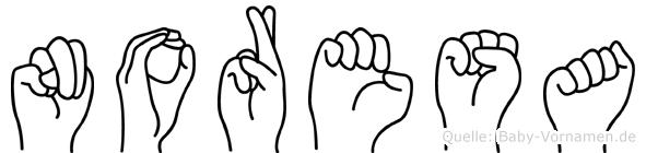 Noresa im Fingeralphabet der Deutschen Gebärdensprache