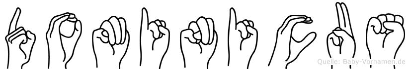 Dominicus im Fingeralphabet der Deutschen Gebärdensprache