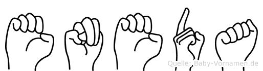 Eneda im Fingeralphabet der Deutschen Gebärdensprache
