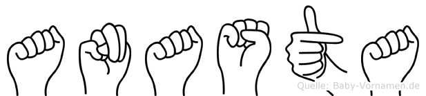 Anasta im Fingeralphabet der Deutschen Gebärdensprache