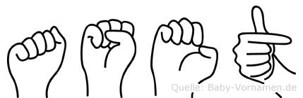 Aset in Fingersprache für Gehörlose