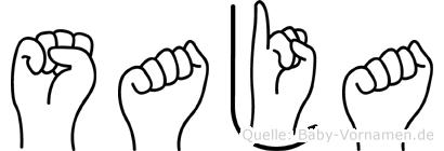 Saja im Fingeralphabet der Deutschen Gebärdensprache
