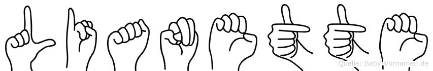 Lianette im Fingeralphabet der Deutschen Gebärdensprache