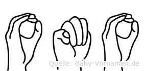 Omo im Fingeralphabet der Deutschen Gebärdensprache