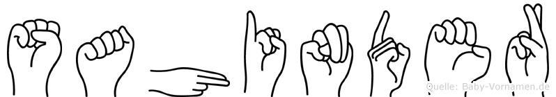 Sahinder im Fingeralphabet der Deutschen Gebärdensprache