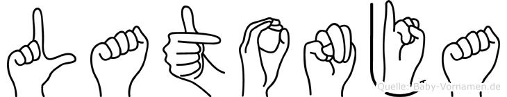 Latonja im Fingeralphabet der Deutschen Gebärdensprache