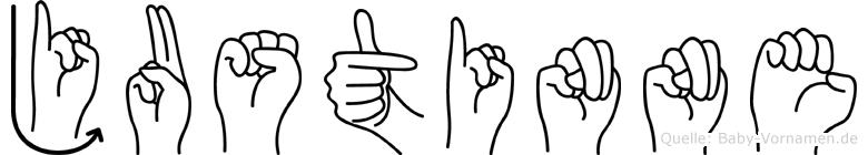Justinne im Fingeralphabet der Deutschen Gebärdensprache