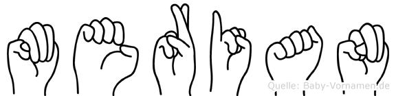 Merian im Fingeralphabet der Deutschen Gebärdensprache