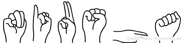 Niusha im Fingeralphabet der Deutschen Gebärdensprache