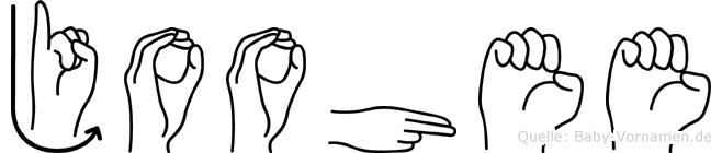 Joohee im Fingeralphabet der Deutschen Gebärdensprache