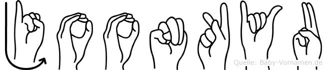 Joonkyu im Fingeralphabet der Deutschen Gebärdensprache