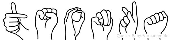 Tsonka im Fingeralphabet der Deutschen Gebärdensprache
