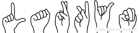 Larkyn im Fingeralphabet der Deutschen Gebärdensprache
